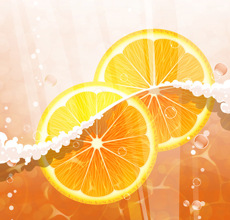 Juice with orange slices, foam and bubbles. Abstract fresh background