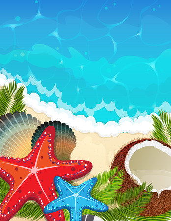 Foaming waves and sandy beach with palm branches, coconut and  starfishes. Sea resort background. Illustration