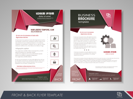 page layout: Front and back page annual report brochure flyer design vector template. Leaflet cover presentation abstract background for business, magazines, posters, booklets, banners. Layout in A4 size.