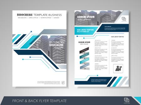 前面と背面のページ年次報告書パンフレット チラシ デザイン ベクトル テンプレートです。ビジネス、雑誌、ポスター、小冊子、バナーのリーフレ