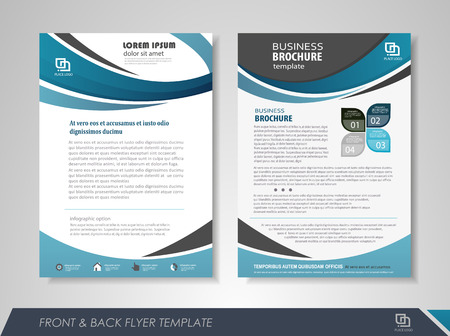 magazine design: Front and back page annual report brochure design template. Leaflet cover presentation abstract background for business, magazines, posters, booklets, banners. Layout in A4 size.