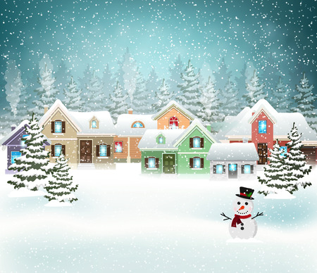 Winter village background with snow covered houses