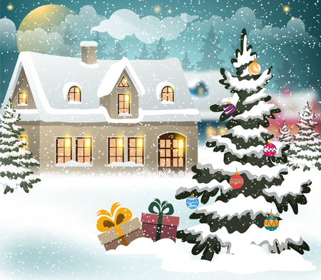 winter scene: Winter village scene with snow covered house and christmas tree with presents and decorations