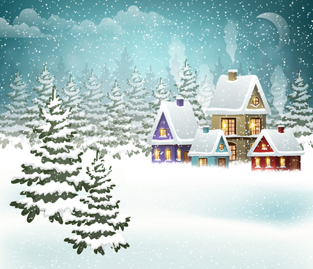 Winter landscape with village and Christmas tree