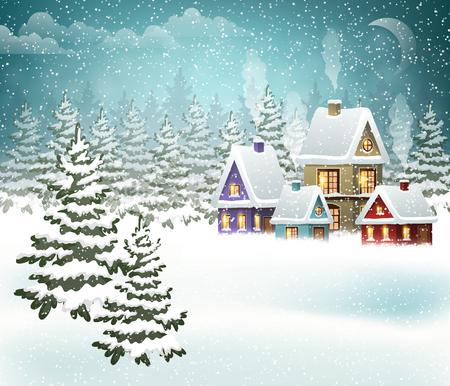Winterlandschap met dorp en kerstboom