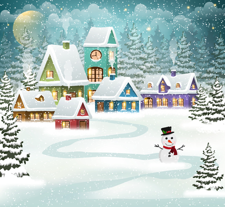 Winter village background with snow covered houses, pine forest and snowman