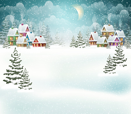 Evening winter village landscape with snow covered house. Holidays vector illustration