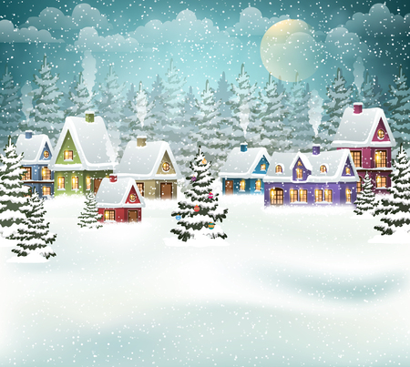 Village winter landscape with snow covered houses and  christmas tree with decorations Illustration