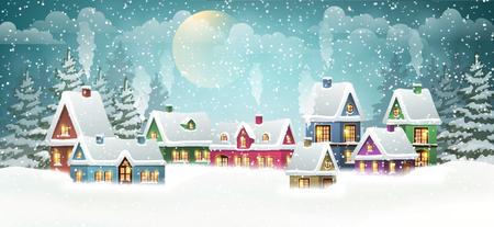 Winter village landscape with pine forest Vettoriali
