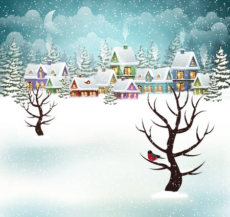 Evening village winter landscape with snow covered houses. Christmas winter scene