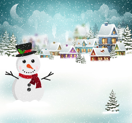 Winter village background with snow covered houses and snowman Çizim