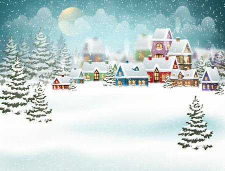 Winter village landscape with pine forest. Christmas vector illustration