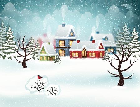 Paisaje del invierno de la ciudad de la tarde con las casas nevadas y el árbol de navidad. Ilustración de vector de vacaciones de Navidad
