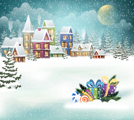 Winter holiday Christmas landscape with snowy village and Christmas presents