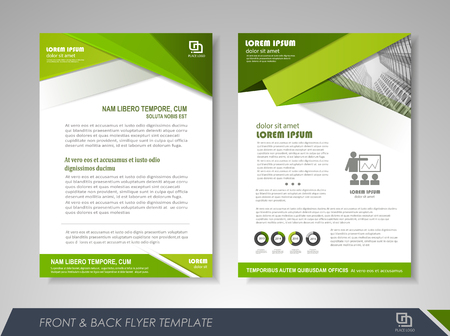Green annual report brochure flyer design template. Leaflet cover presentation abstract background for business, magazines, posters, booklets, banners. Ilustração