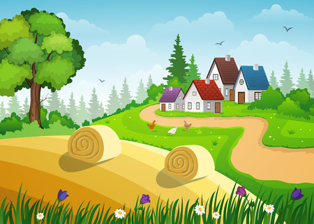 Farm and fields with hay bales. Countryside landscape.