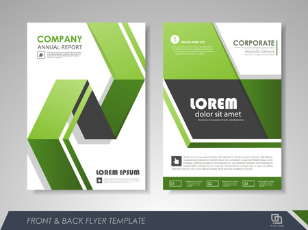 size: Green annual report brochure flyer design template. Leaflet cover presentation abstract background for business, magazines, posters, booklets, banners. Layout in A4 size. Easily editable vector format.