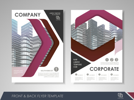 size: Purple annual report brochure flyer design template. Leaflet cover presentation abstract background for business, magazines, posters, booklets, banners. Layout in A4 size. Easily editable vector format.
