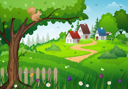 Rural houses in the midst of lush green meadows with tree and flowers Illustration