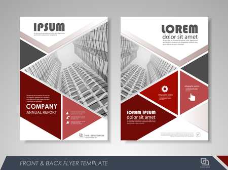 size: Red annual report brochure flyer design template. Leaflet cover presentation abstract background for business, magazines, posters, booklets, banners. Layout in A4 size. Easily editable vector format.