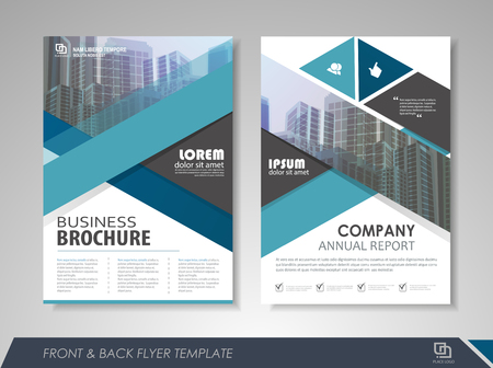 size: Blue annual report brochure flyer design template. Leaflet cover presentation abstract background for business, magazines, posters, booklets, banners. Layout in A4 size. Easily editable vector format. Illustration