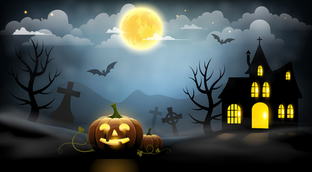 Pumpkins, cemetery and a haunted house