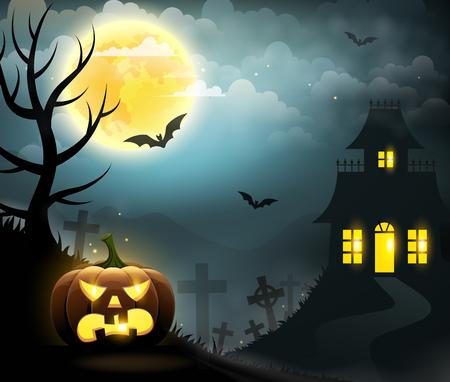 Eng huis, griezelige pompoen, volle maan, kerkhof en vleermuizen. Halloween poster. Stock Illustratie