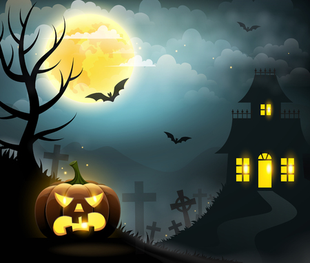 Scary house, spooky pumpkin, full moon, graveyard and bats. Halloween poster.
