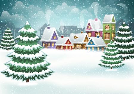 Paisaje de pueblo de invierno con bosque de pinos