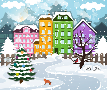 Winter town covered with snow. Houses with snow-covered roofs. Christmas tree with ornaments.