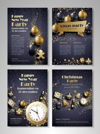 Merry Christmas and Happy New Year party flyer, brochure, holiday invitation, corporate celebration. Christmas ornaments, balls, gifts, champagne, snowflakes, confetti, tinsel on black background. Vector illustration.