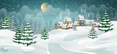 Paesaggio del villaggio invernale con pineta. Piccole case da favola coperte di neve.