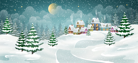 Winter village landscape with pine forest. Small fairy-tale houses covered with snow.
