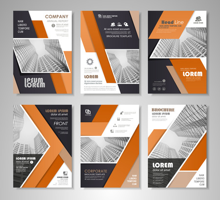 Black and orange presentation template for business annual report, corporate marketing, creative and leaflet, advertising, brochure, banner, slideshow, booklet, background. Vectores