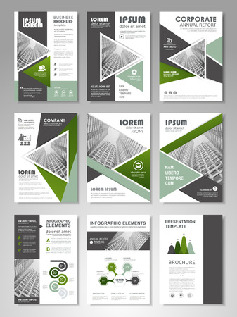 Green presentation template set for business annual report, corporate marketing, corporate report, creative and leaflet, advertising, brochure, banner, slideshow, booklet, background. Vectores