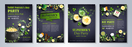 Saint Patricks Day party flyer, brochure, holiday invitation, corporate celebration. Leprechaun hat, shamrock, pot with gold coins, horseshoe, green ale on black background. Vector illustration.