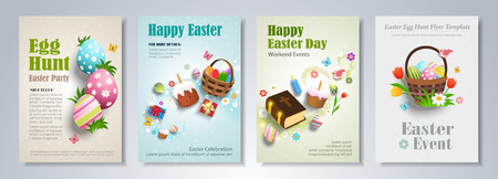 Happy Easter Day party flyer, brochure, holiday invitation, corporate celebration. Easter eggs, basket, Bible, gifts and flowers, on colorful backgrounds. Vector illustration.