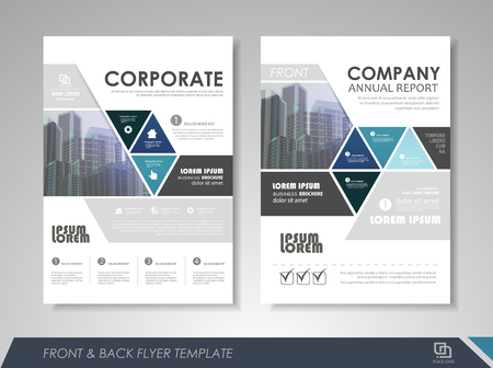 Blue annual report brochure flyer design template. Leaflet cover presentation abstract background for business, magazines, posters, booklets, banners. Layout in A4 size. Easily editable vector format. 일러스트