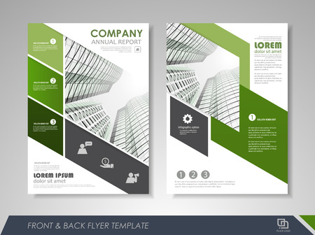 Green annual report brochure flyer design template. Leaflet cover presentation abstract background for business, magazines, posters, booklets, banners. Layout in A4 size. Easily editable vector format.