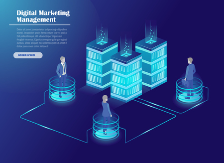 Digital marketing management, receipt of statistics data, mobile bank, financial transaction, business planning. Server, businessmans in data center room, working group isometric vector. Иллюстрация