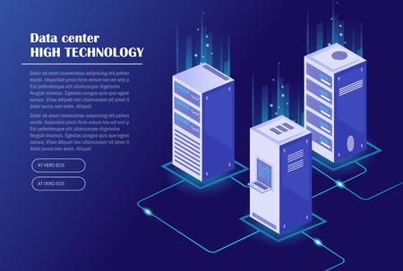 Alojamiento web y procesamiento de big data, rack de sala de servidores. Centro de datos, tecnología de almacenamiento en la nube. Ilustración vectorial isométrica.