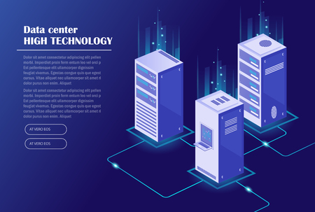 Webhosting en big data-verwerking, serverruimte-rack. Datacenter, cloudopslagtechnologie. Isometrische vectorillustratie.