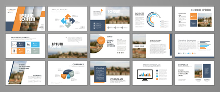 Presentation templates for business booklet, corporate report, flyer and leaflet, banner, mockups, slideshow, startup.