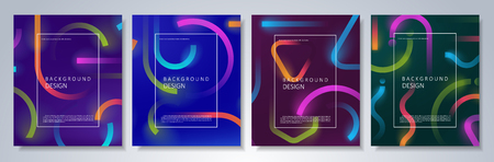 Set of colorful geometric neon backgrounds. Fluid motion shapes with transparent blend. Eps10 vector.
