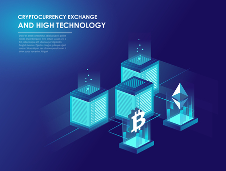 Cryptocurrency and blockchain isometric composition, web hosting and large data processing. Data center, cloud storage technology. Isometric vector illustration.