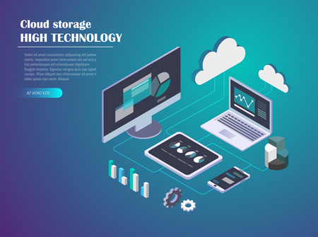 Data Cloud Storage Network Isometric vector illustration. Computer, Laptop, Mobile phone,Tablet, hard drive connection on blue background. Header design for website.
