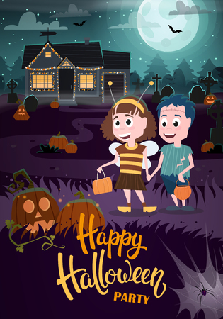 Halloween background with zombie, bee, haunted house and full moon. Flyer or invitation template for Halloween party. Vector illustration. Illustration