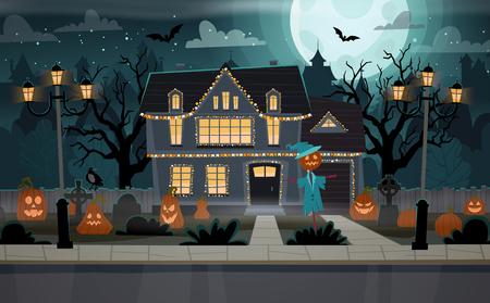 Casa decorada de Halloween. Vista frontal del edificio con tumbas, calabazas, espantapájaros. Banner de feliz Halloween. Ilustración de vector de concepto de celebración de Halloween.