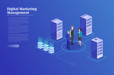 Receipt of statistics data, mobile bank, financial transaction, business planning. Businessmans in data center room, working group isometric vector.