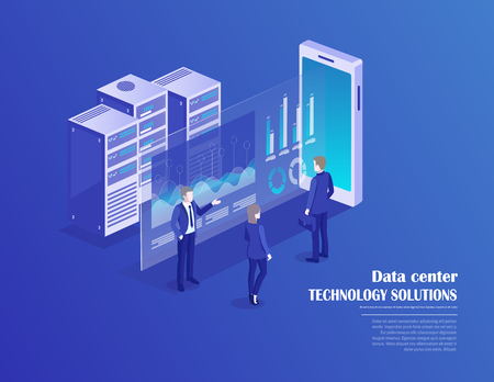 Receipt of statistics data, mobile bank, financial transaction, business planning. Smartphone, businessmans in data center room, working group isometric vector. Illustration